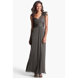 Amsale Silk Bridesmaid Dress G787C Charcoal